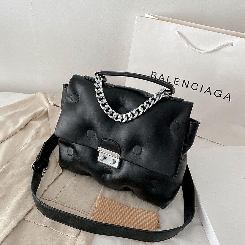 Famous Brand Women's Bags PU 2021 Chain Space Cotton Large Capacity Women's Bag Shoulder Messenger Bag Luxury Trendy Handbag