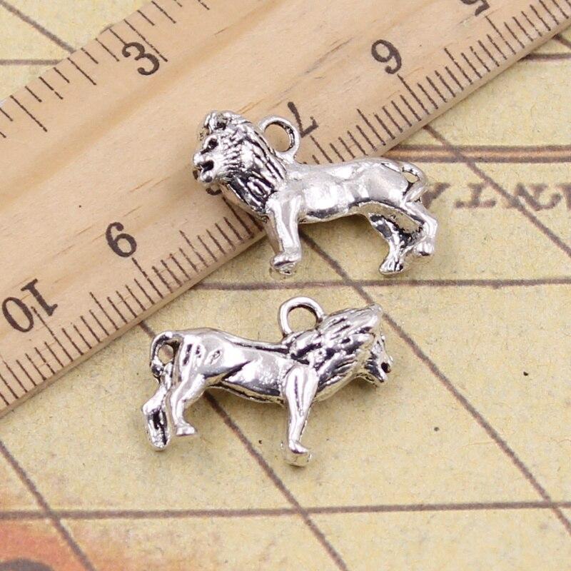 5pcs/lot Charms Lion 23x15mm Antique Silver Color Pendants Making DIY Handmade Tibetan Silver Color Finding Jewelry For Bracelet