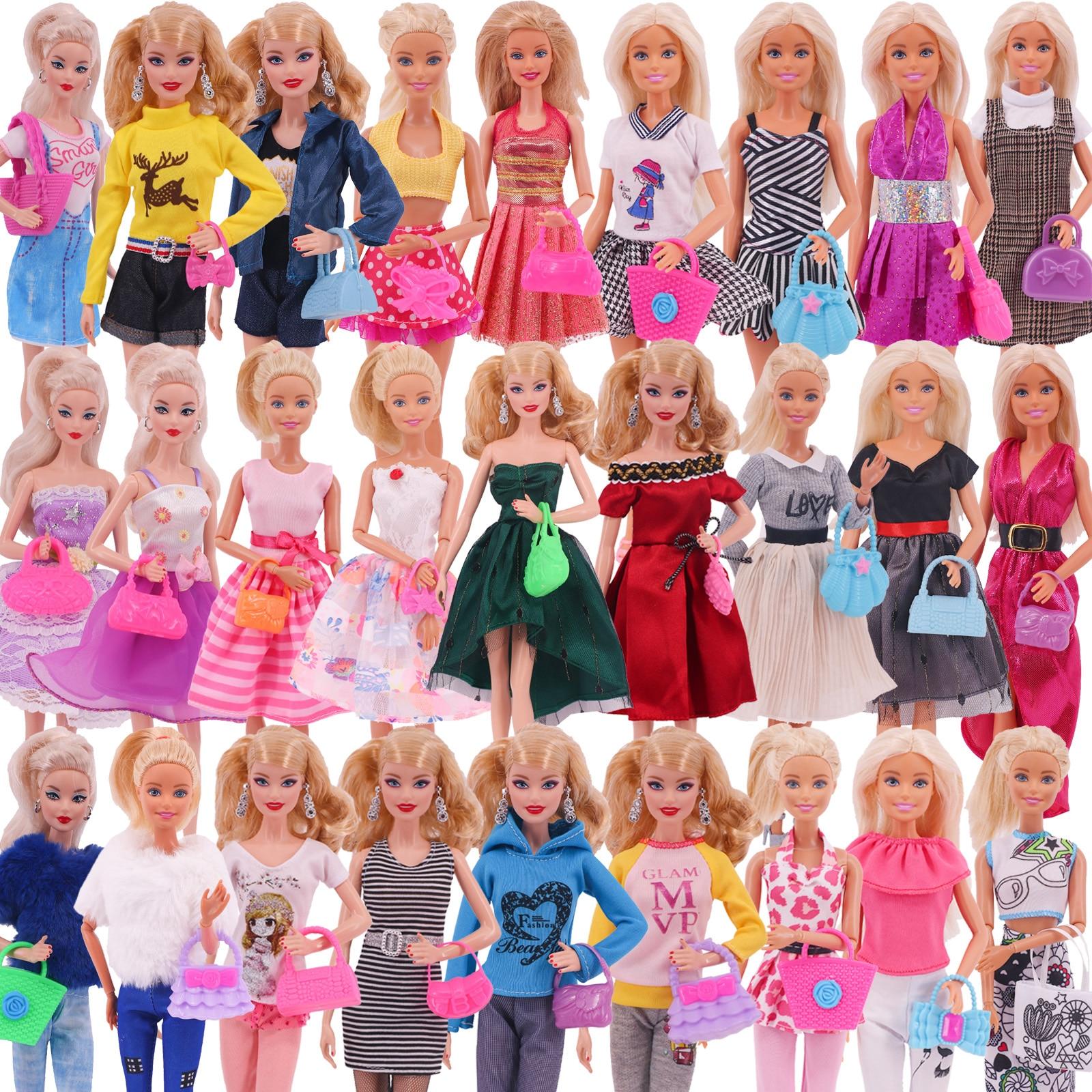 10 шт. аксессуары для кукол Барби = 5 шт. одежда Барби + 5 шт. сумок для куклы Барби и 1/6 Blythe шарнирная кукла обуви Мини платья Сумки Игрушки