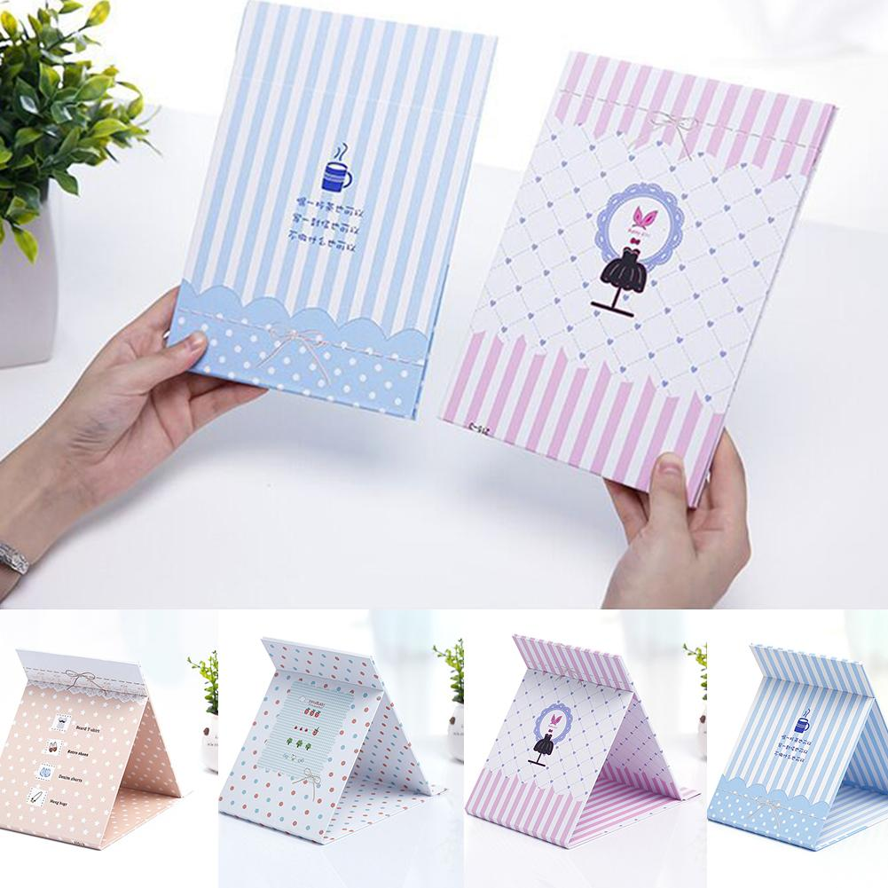 Portable Cute Cartoon Design Folding Travel Paper Desktop Makeup Cosmetic Mirror