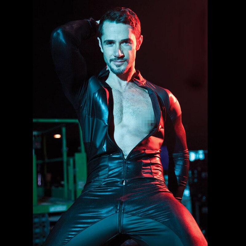 Traje de lencería sexy para hombre, de cuero, spandex, sin entrepierna, entrepierna con cremallera, ropa de stripper, ropa de club nocturno, traje sexy para hombre