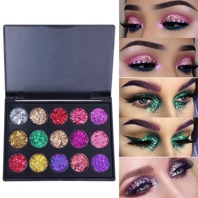 Maquillaje brillo de diamante paleta de sombra de ojos brillo sombra de ojos Multi-Color duradero metales impermeables brillo maquillaje belleza TSLM1