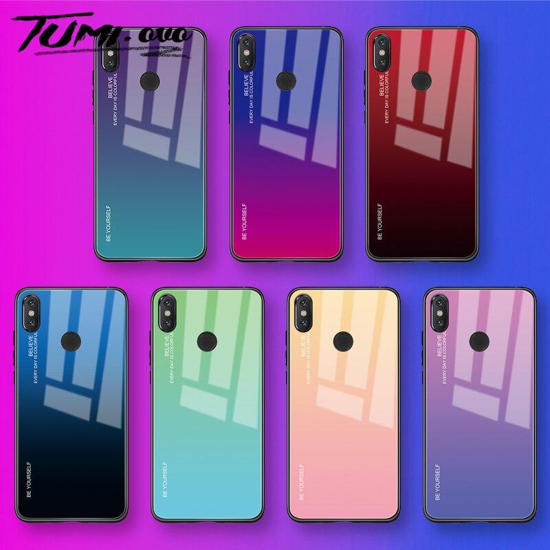 Gradient Tempered Glass Case For Xiaomi Redmi Note 8 7 5 6 Pro 6A Pocophone F1 Mi A1 A2 Lite 6X 8 9