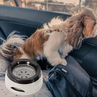 1pcs pet car tipping and splash proof non wet mouth floating bowl resin no spill drinking water feeder plastic portable dog bowl