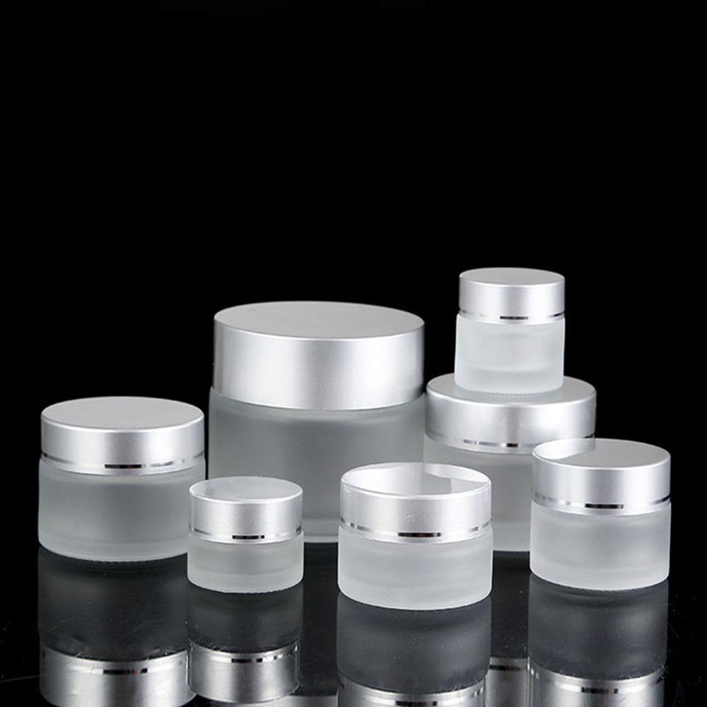 Botellas de ungüento rellenables de vidrio esmerilado frasco cosmético vacío bote sombra de ojos envase para crema facial dispensador de vidrio botellas vacías
