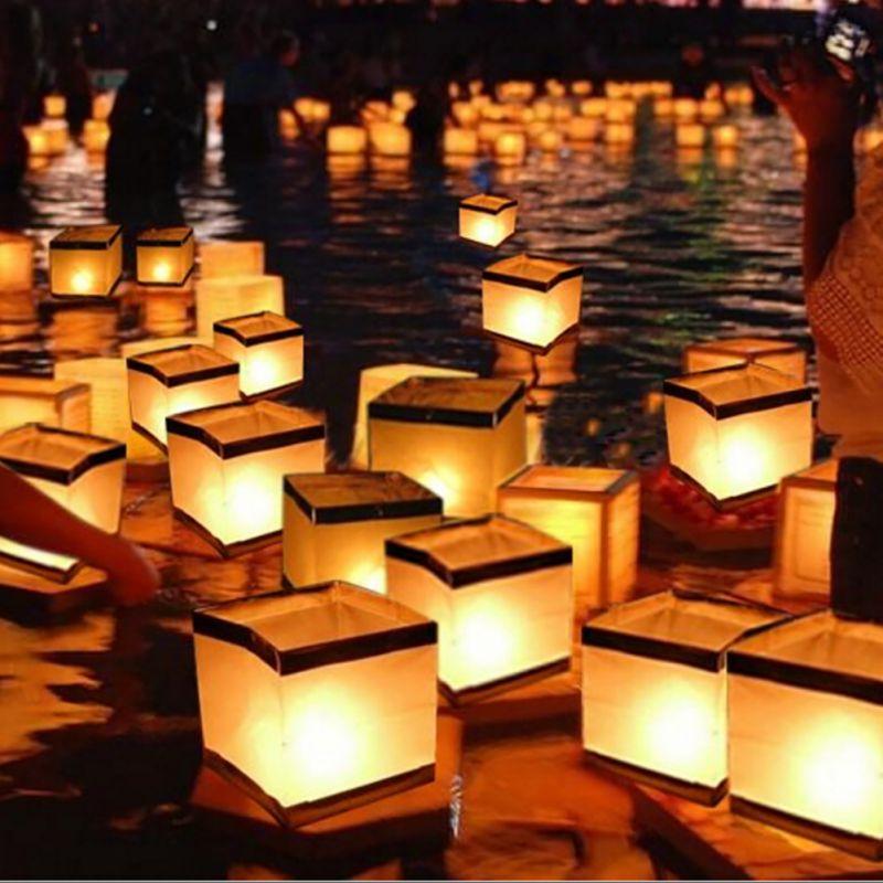 Criativo nova água flutuante quadrado lanterna lanternas de papel desejando lanterna flutuante vela para festa aniversário decoração do casamento *