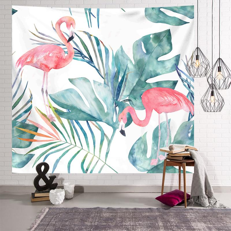 Гобелен с зелеными растениями и фламинго INS, гобелены в скандинавском стиле, подвесная ткань, фоновая ткань для гостиной, спальни, украшение ...