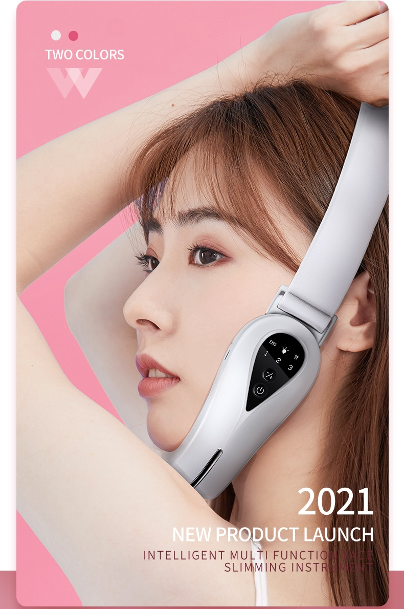 Multi Function Face Slimming Massager For Face EMS Micro Current Red Blue Light Skin Rejuvenation V-type Face Lifting Device