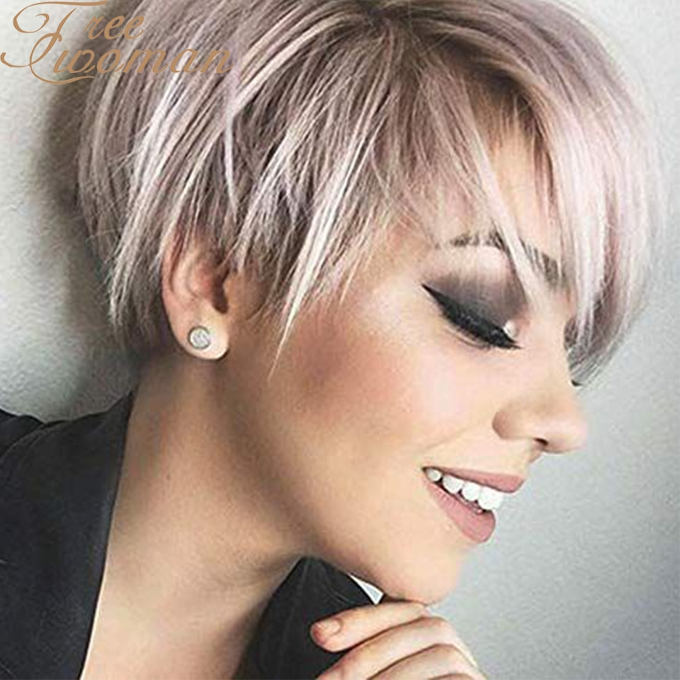 FREEWOMAN Short Hair Wig with Natural Bangs Pixie Cut with Highlights Synthetic White Mix Brown Haircut For White Women