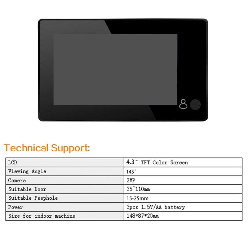 4 3inch HD Door Peephole 145 Degree Wide Angle Digital Smart Doorbell TFT Color Door Eye Home Security Camera Monitor