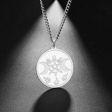 Dawapara Hecate Wheel Strophalos of Hekate Witchcraft Power Moon Goddess Kabbalah Amulet Pendant Stainless Steel Men Necklace