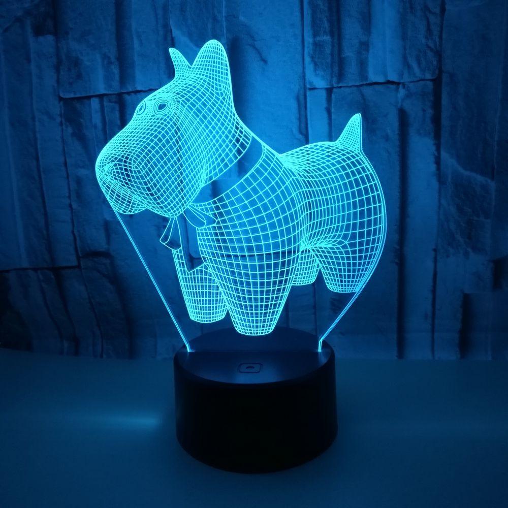 Cute 3D Night Light LED Lovely Dog Table USB Cartoon Lamp Touch Acrylic Luminous Gift for Children Room Decor Animal 3d