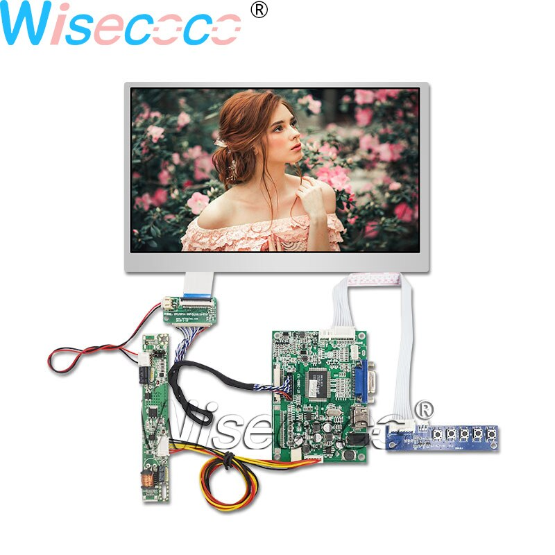Wisecoco 10.1 بوصة 1280*720 IPS 750 nits شاشة LCD مع VGA 40 دبوس LVDS CCFL العاكس لوحة للقيادة في الهواء الطلق عالية السطوع