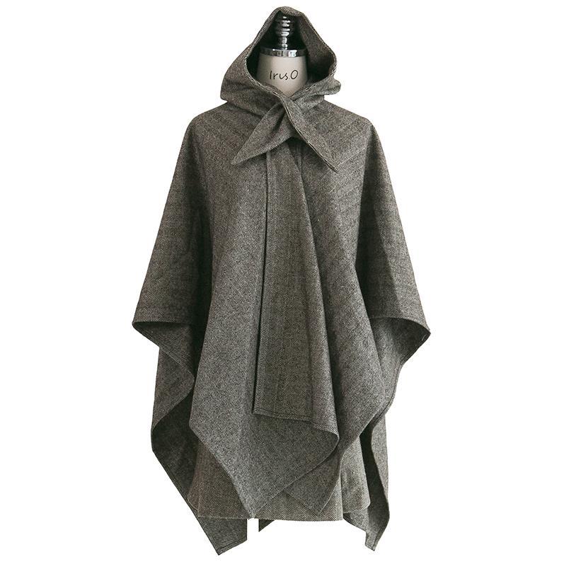 Abrigo de lana irregular de línea a con capucha con patrón de espiga Retro