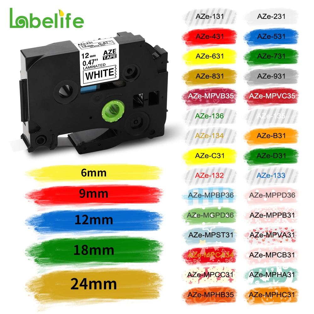 31 Colors TZe-231 Label Tape 9mm 12mm Compatible for Brother Label Printer Tapes for tze131 tz631 tze-231 Label Tape Label Maker