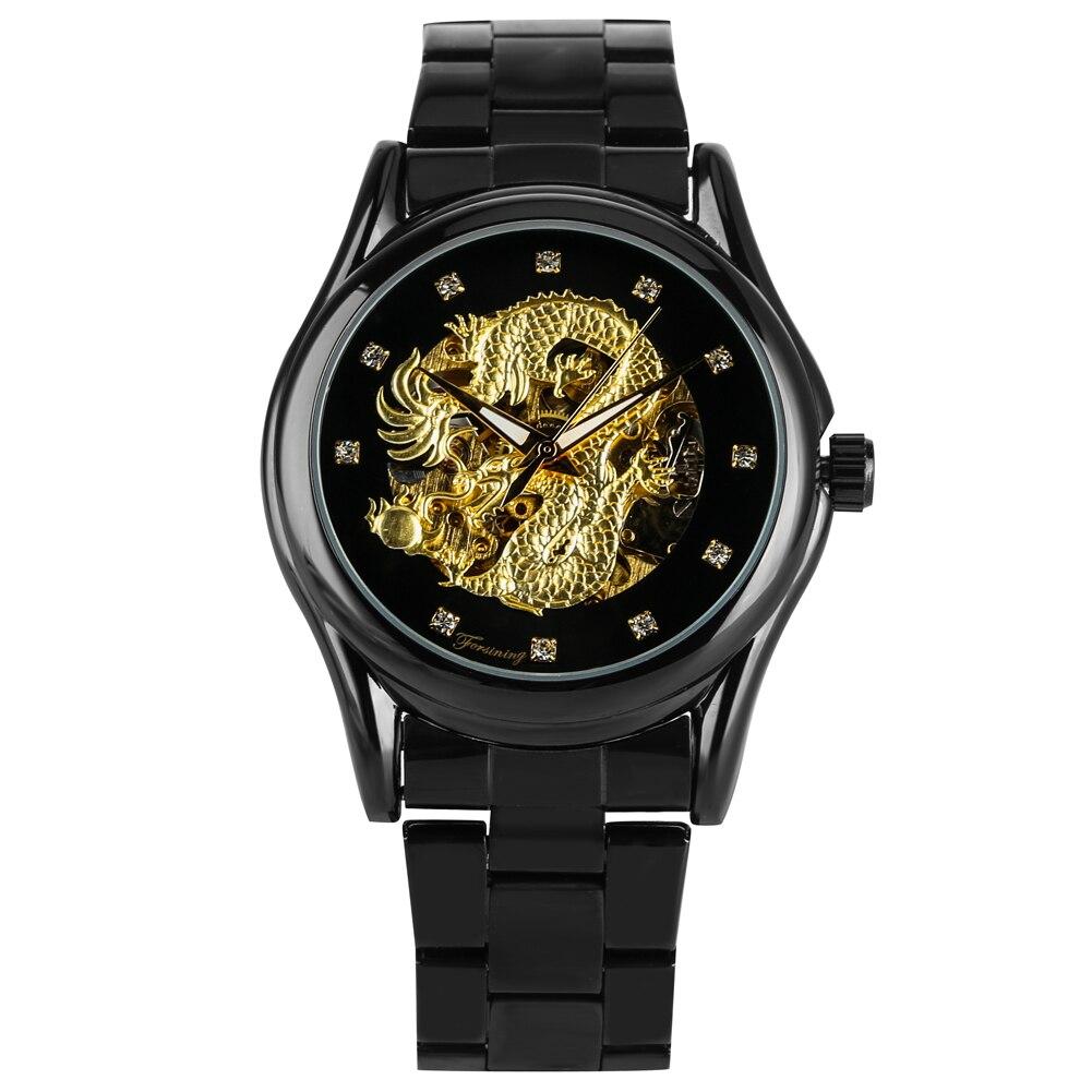 Automático para os Homens Mostrador do Relógio de Pulso dos Homens com Teste Padrão do Dragão Cinta de Aço Relógios para o Marido Relógio Mecânico Grande Inoxidável