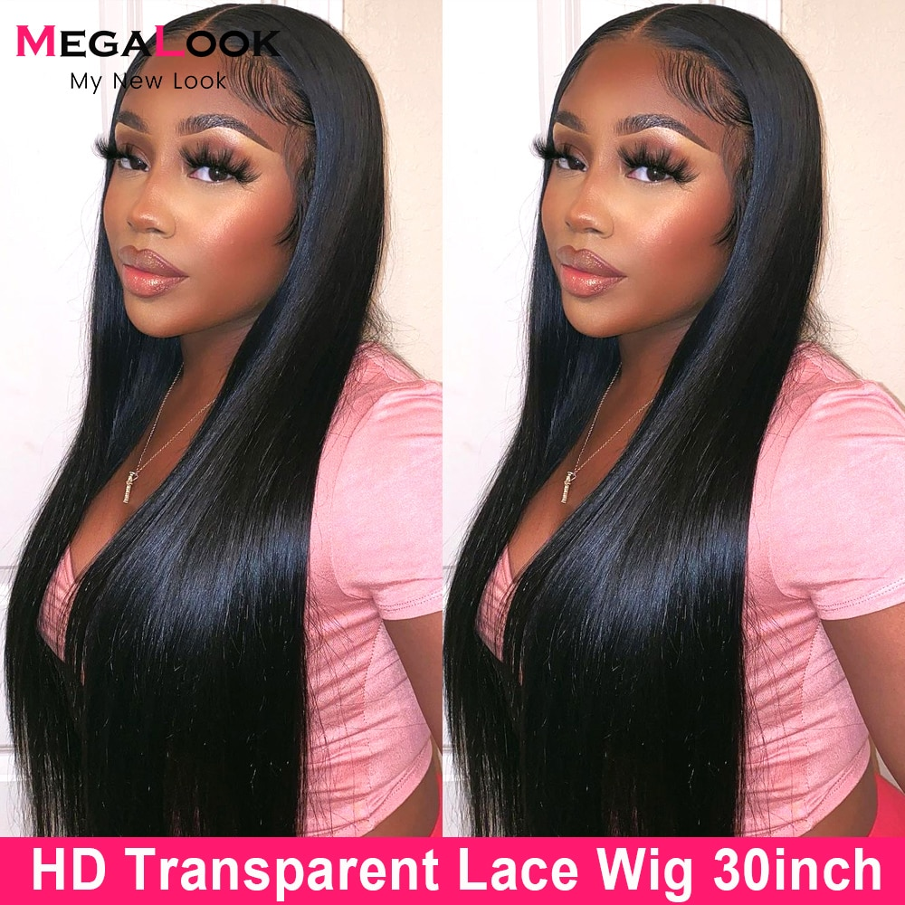13x5x2 T Part Lace Front Wig 28 30 Inch Peruvian Straight Human Hair Lace Wigs 180% Transparent Lace Frontal Wig Pre Plucked