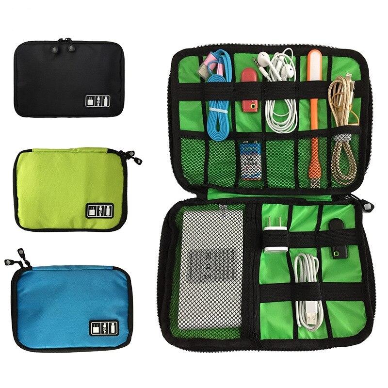 1PCs Portable USB Cable Storage Bag Gadget Organizer USB Charger Power Bank Holder Bag Digital Elect