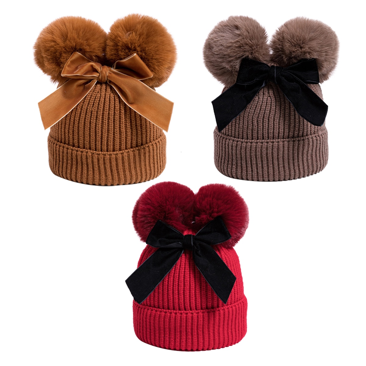 Baby Stuff Double Pompom Hat Winter Knitted Kids Baby Girl Hat Warm Thicker Children Infant Beanie Cap Bonnet Casquette Enfant