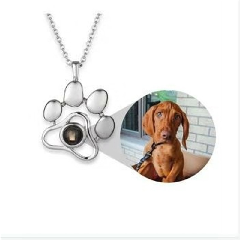 Custom Pet Photo Pendant Necklaces Footprints Cat Dog Paw 100 Languages I Love You Necklace Projection Memory Jewelry