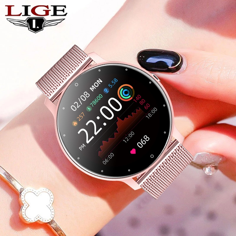 LIGE 2021 جديد ساعة ذكية للنساء الرجال اللون شاشة تعمل باللمس الكامل جهاز تعقب للياقة البدنية بلوتوث دعوة ساعة ذكية السيدات ساعة ذكية النساء