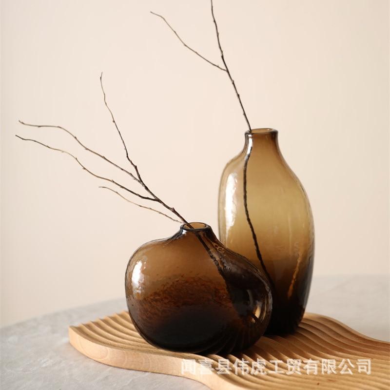 Japonés florero de vidrio Zen Irregular de flor geométrica habitación Jarrones Cristal...