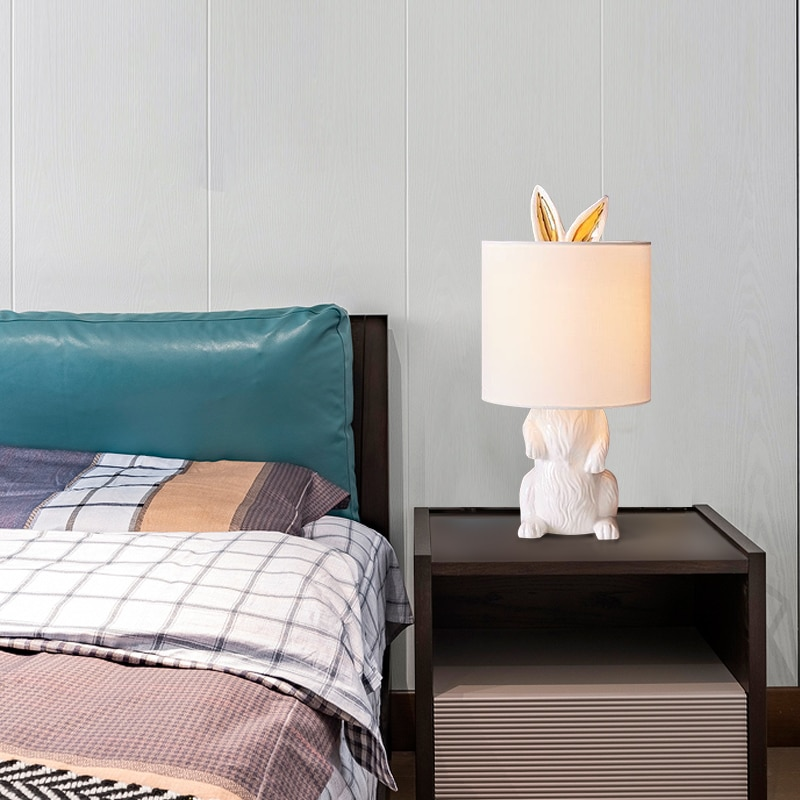 Lámpara de mesa minimalista moderna nórdica creativa art deco conejo LED Luz de escritorio para sala de estar niños dormitorio lámpara de noche e27