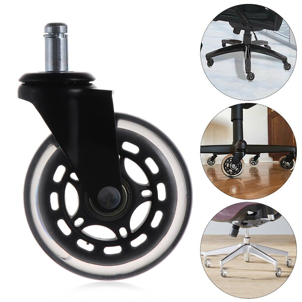 Ruedas de silla con ruedas de oficina ruedas transparentes reemplazo de Hardware duradero rodillos de seguridad suave Grip silla más reciente