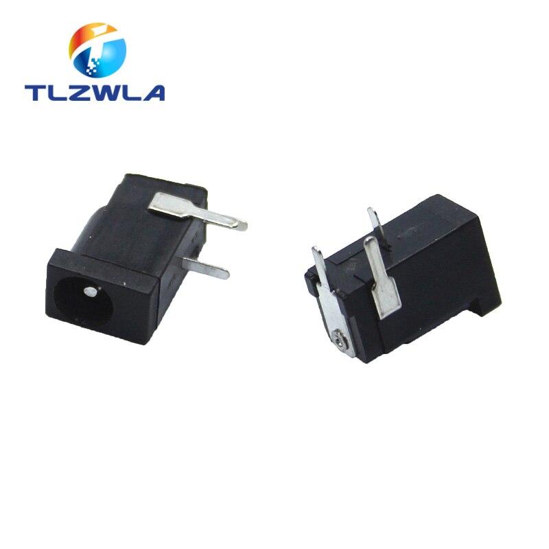10 Uds gran oferta DC-002 de alta calidad 0.3A 50V negro toma de corriente CC conector DC002 3,5*1,3mm 1,3
