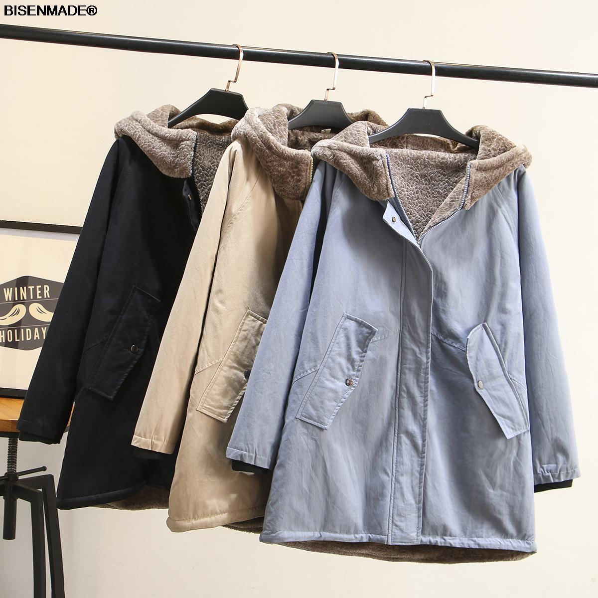 Winter Parka Women Clothes Plus Size&Curve 2021 New Fleece Coat Loose Sand Wash Hooded Thick Outerwear