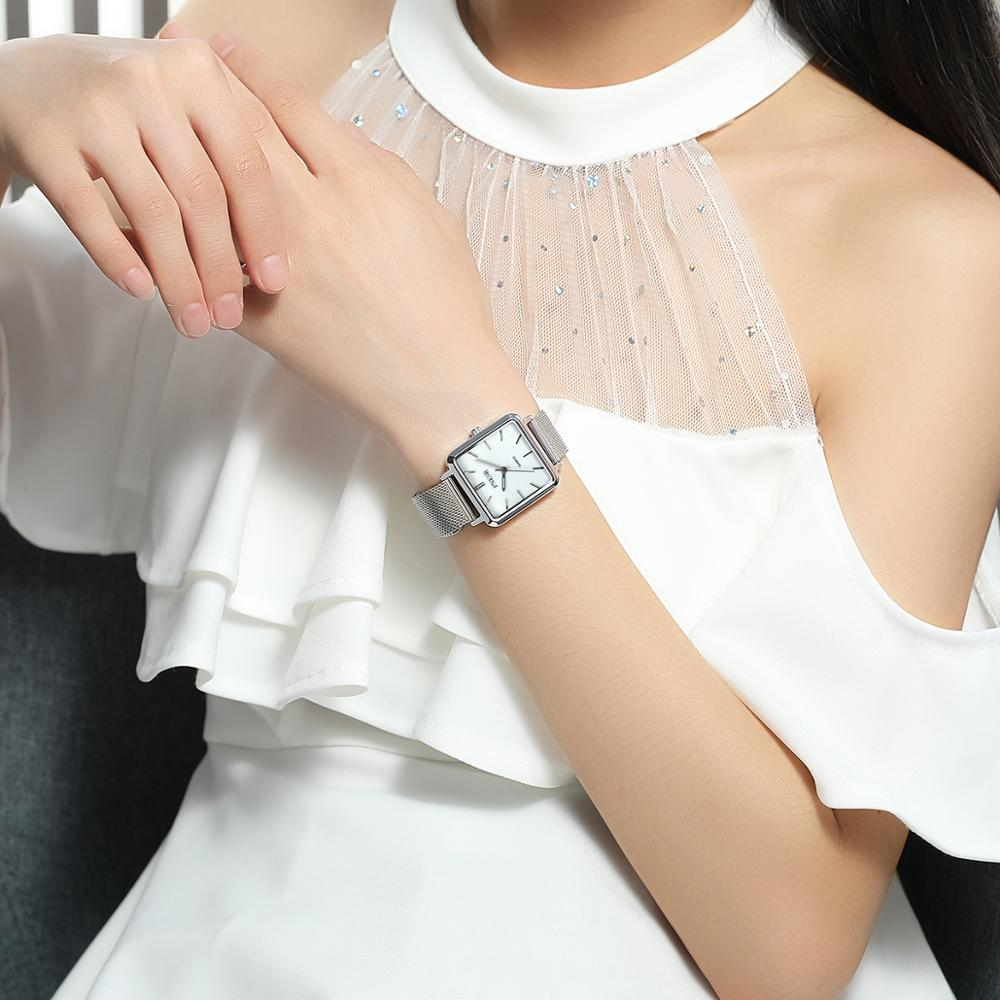 Luxury female watch temperament white collar square ladies watch high quality female watch enlarge
