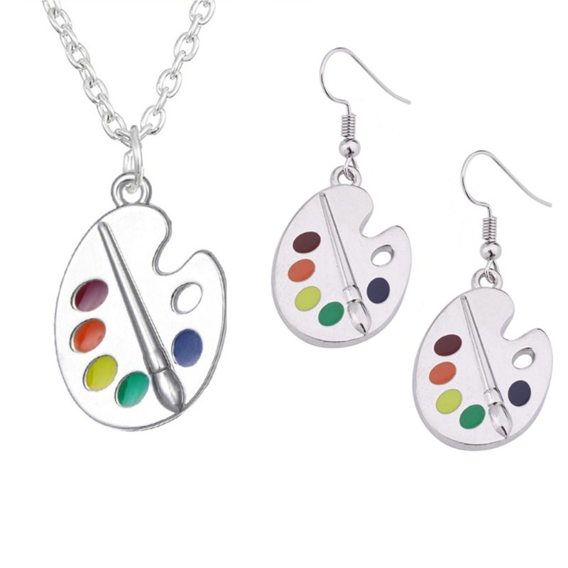 Pincel de pintura colorida paleta de pintura gota pendientes collar con libre de plomo y níquel artista pintor joyería