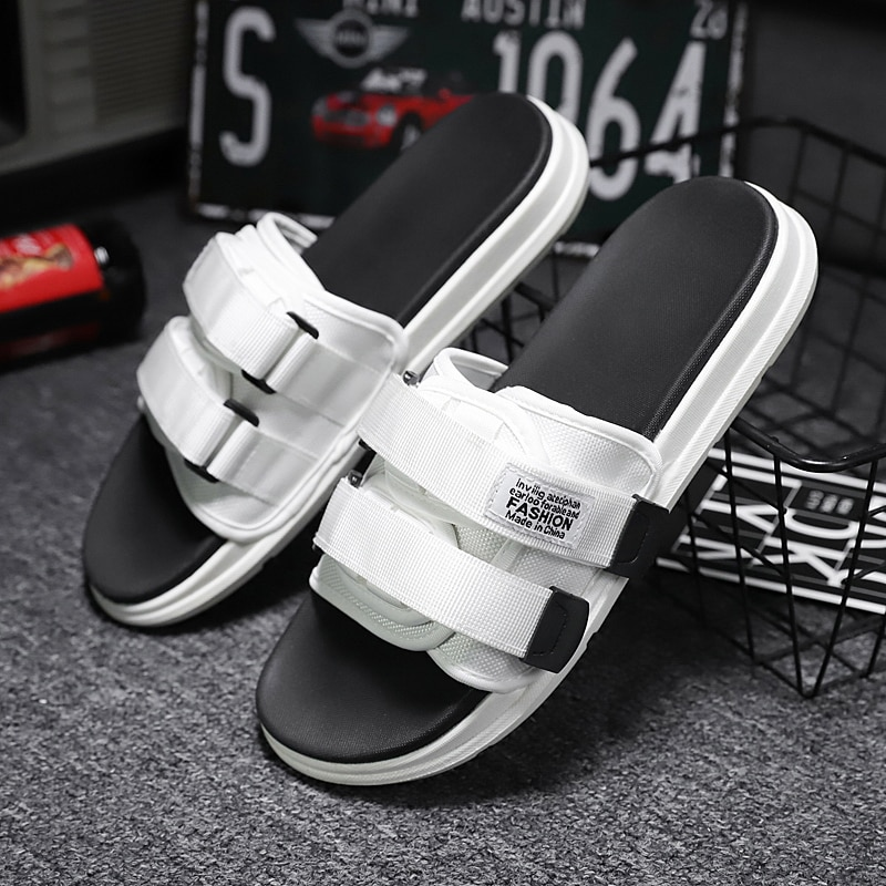 size 39 46 summer men slippers men shoes summer sandals lightweight men slides cheap men footwear mens mesh breathable slippers Size 35-46 Platform Sandals Slippers Flat Men Shoes Slipper Men Casual Shoes Man Slides Beach Slippers Couple Summer Sandals