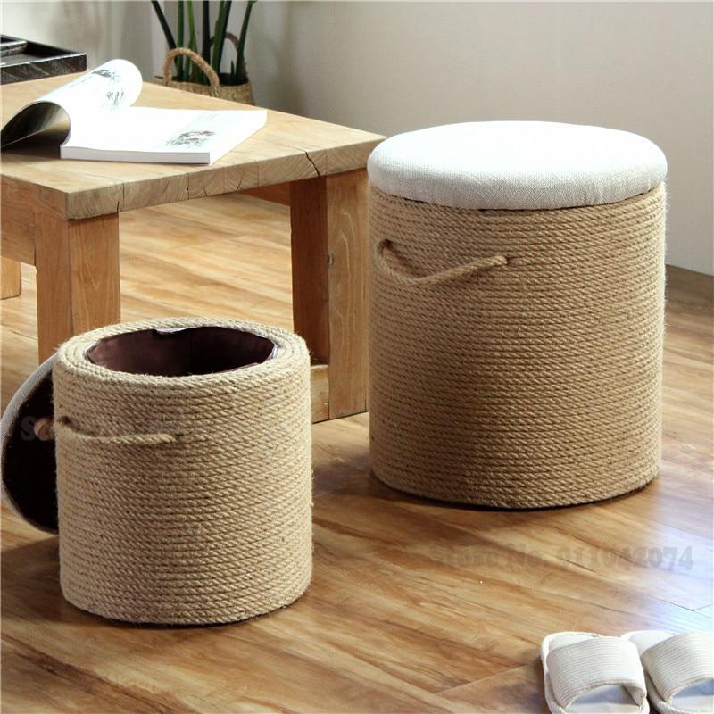 Estilo americano corda de cânhamo fezes de armazenamento ins norte de madeira maciça sapato mudando fezes multi-funcional sofá banqueta pufe otomano