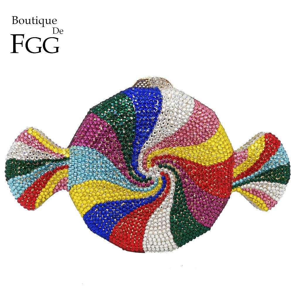Boutique De FGG bolso De mano multicolor para mujer, Bolso De noche De cristal, fiesta De boda, Minaudiere, bolsos y monederos, bolso De mano nupcial