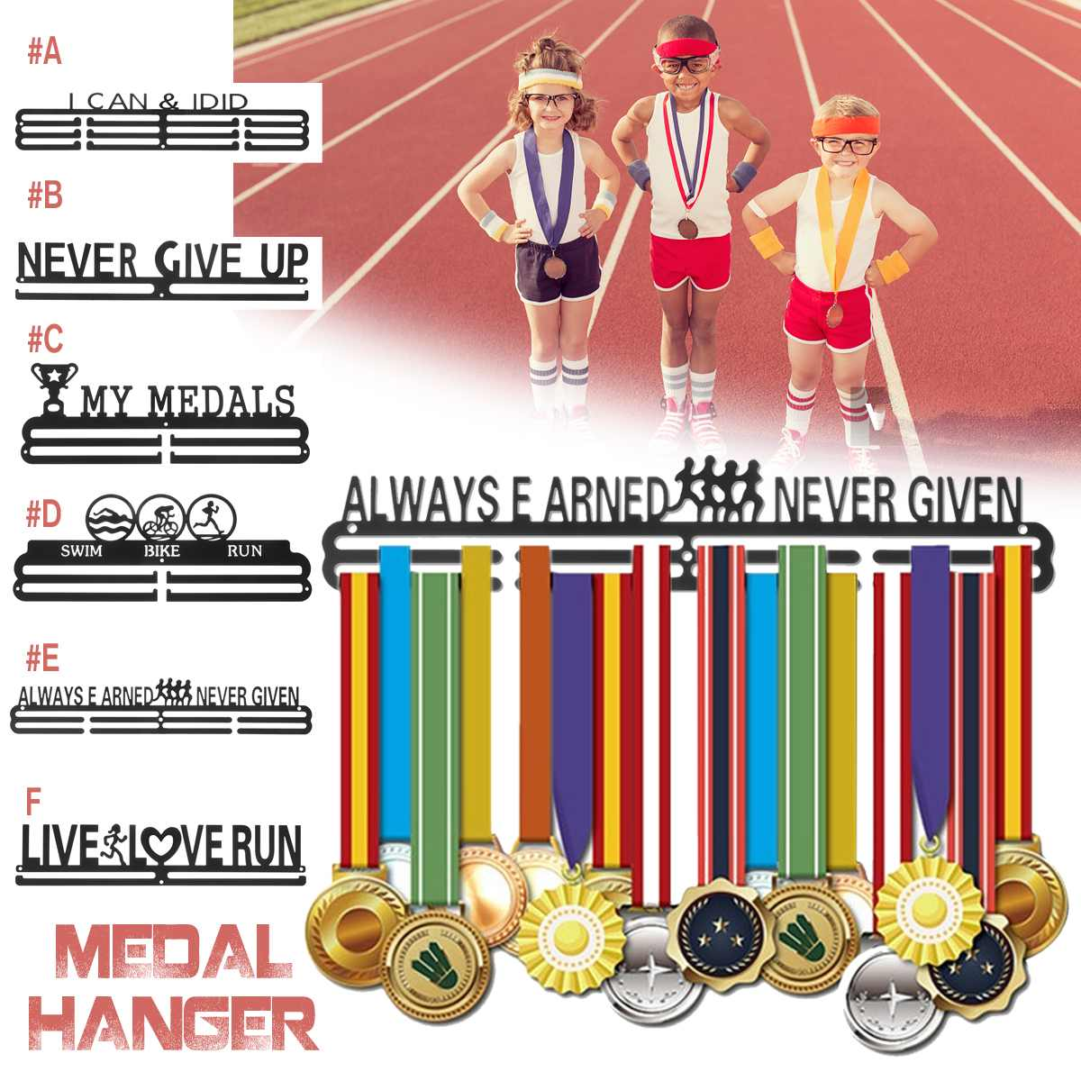 KIWARM 6 Styles Inspirational Medal Hanger Metal Sport Display Rack Medals Holder for 30-45 Medals Wall Home Decor