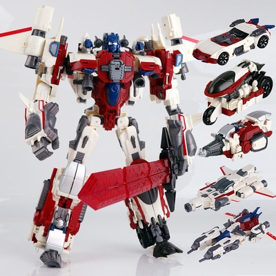 WJ Transformers Computron 5 en 1, figura de acción de Scattershot STRAFE postburner Lightspeed Nosecone Alloy, Robot de juguete