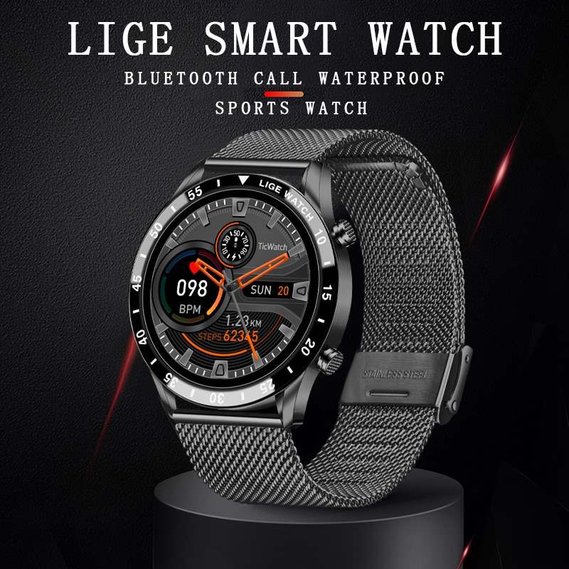 LIGE 2021 New Men Smart watch Bluetooth Call Full touch screen sports Fitness watch IP67 waterproof