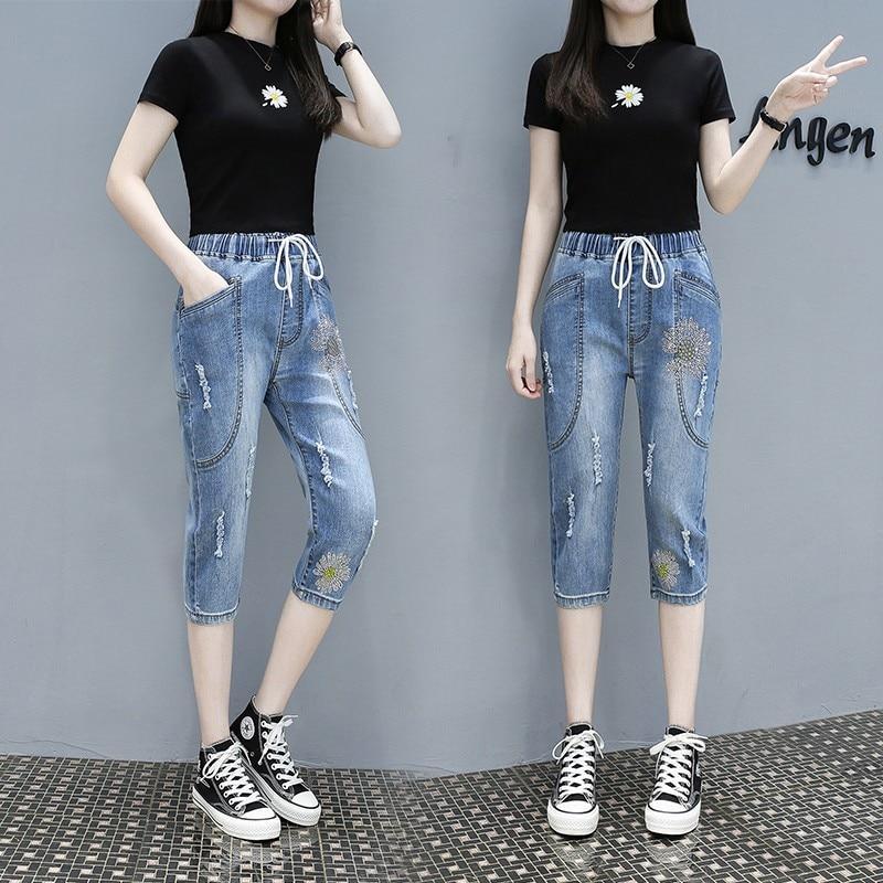 2020 de talla grande 4XL agujero novio mujer Sexy Casual pantalones volar cintura Pantalones Slim transpirable diamante pantalones elásticos Harem