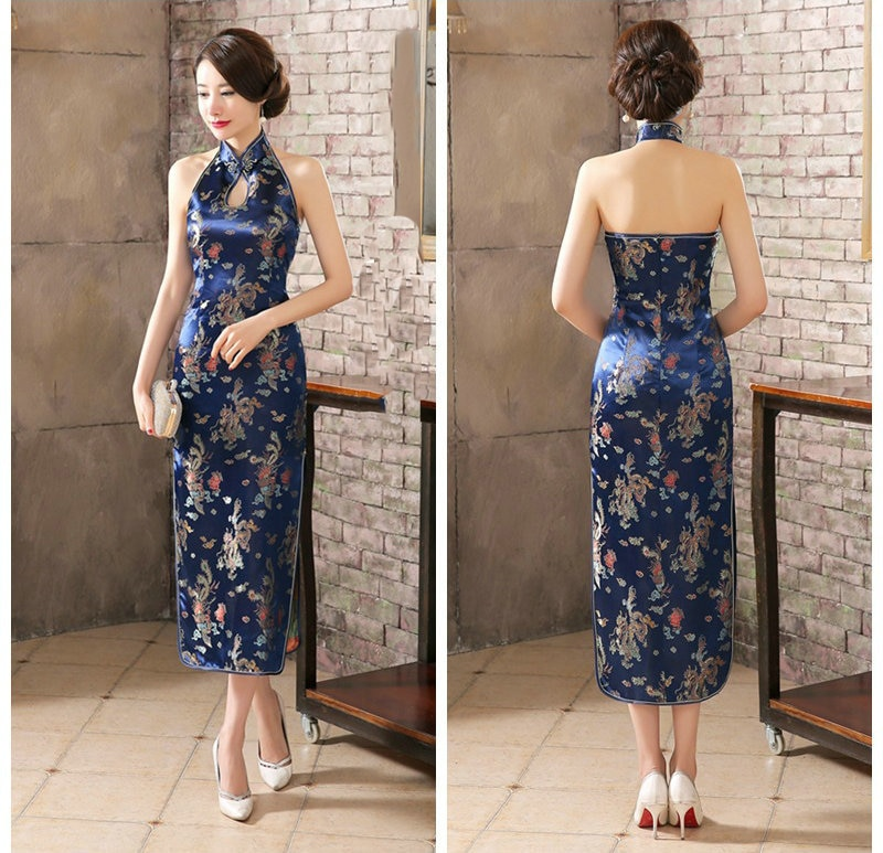 Navy Blue Sexy Long Cheongsam LADY Backless Novelty Chinese Modern Dress Women Vestido Sleeveless Evening Dresses Oriental Qipao
