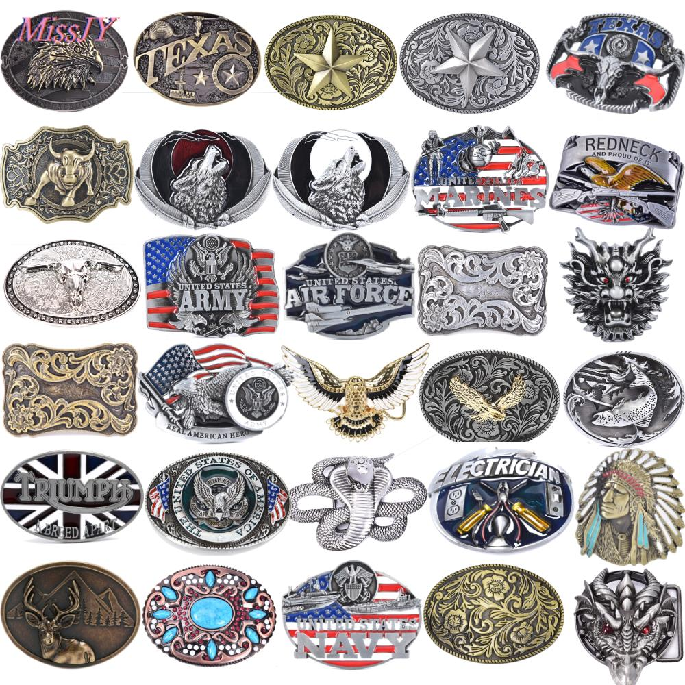 36Styles Mens' Belt Buckle Belt Buckle Western Cowboy Flower Bottom Cow Flying Eagle Belt Buckle Gold Metal Jeans Accessories