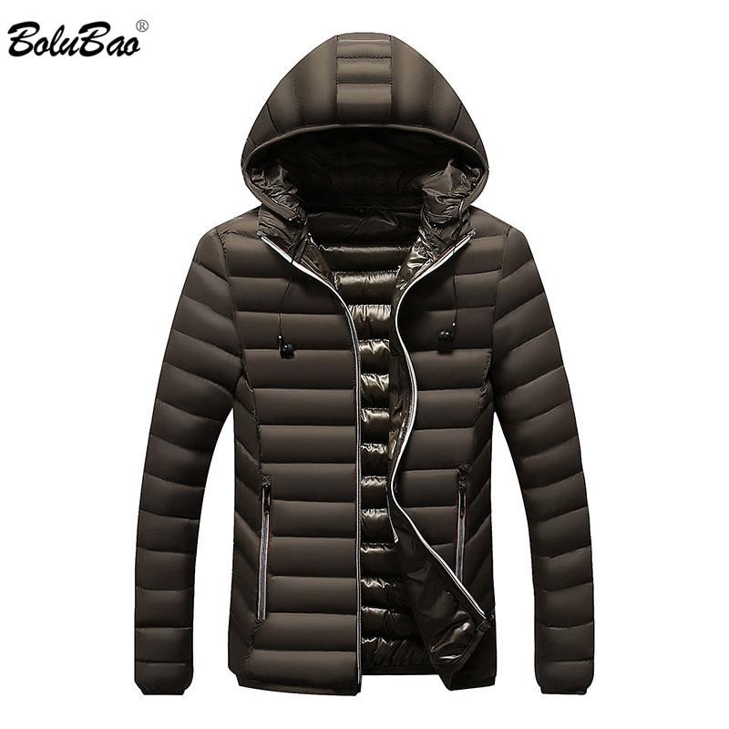 Parka de moda de marca BOLUBAO para hombre Parka de invierno de Color sólido con capucha chaqueta Casual Parka para hombre Parkas masculinas