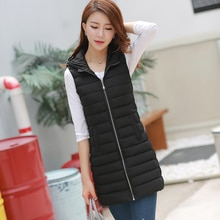 Women's Long Vest Slim Solid Autumn Winter Plus Size Casual Ladies Sleeveless Jacket Hooded Pockets