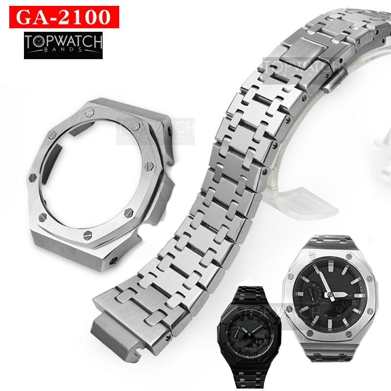 Set GA2100 Second Generation GA2110 Watch Set Metal Watchband Bezel 316L Stainless Steel GA-2100 GA-2110 2rd Watch Strap Band