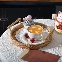 rattan handwoven round high wall severing tray food storage platters plate over handles for breakfast drink snack for coffee tea
