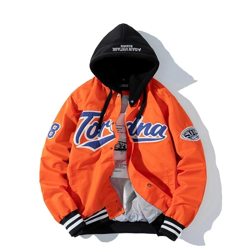 men Streetwear Slim thin windbreaker Mens Harajuku embroidery Hip Hop Jackets Casual Outwear hooded Pilot Jacket