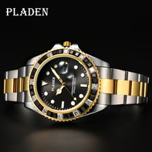 PLADEN Gold and Silver Watch Men Black Square Diamond Casual Japanese Movt European Timepiece Dive M