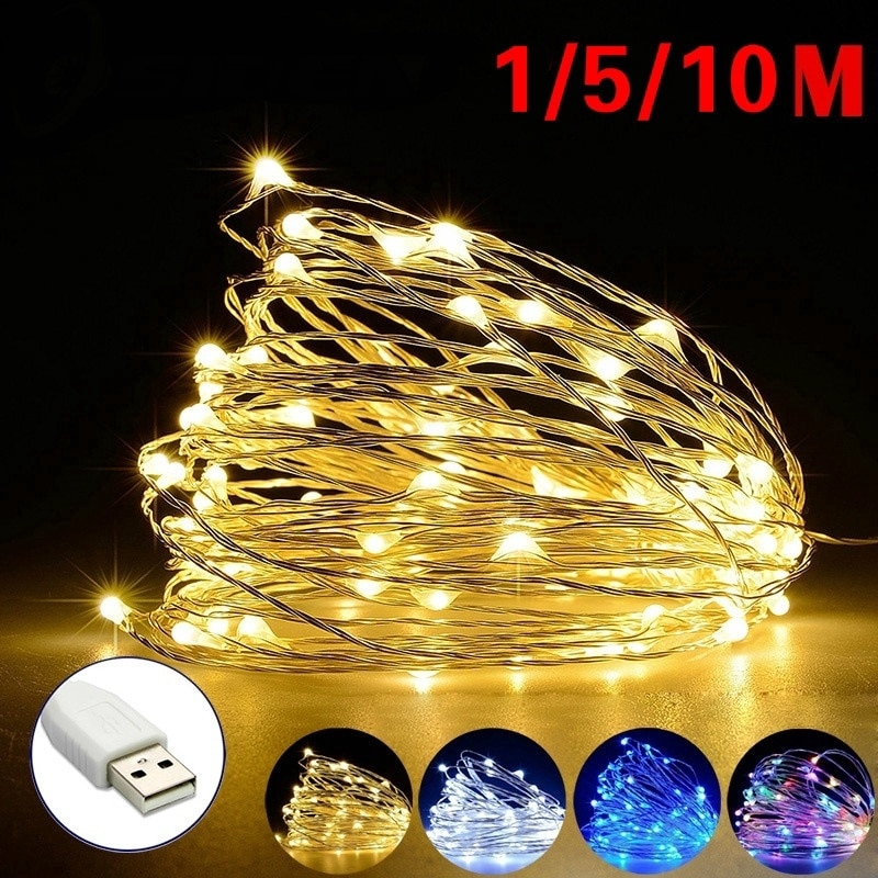 100 led string lights 10m 5m 1m usb waterproof copper silver wire garland fairy lights for christmas decoration wedding party 1M 5M 10M LED String Fairy Lights USB Copper Wire Wedding Festival Christmas Party Decoration Lights Waterproof Outdoor Lighting