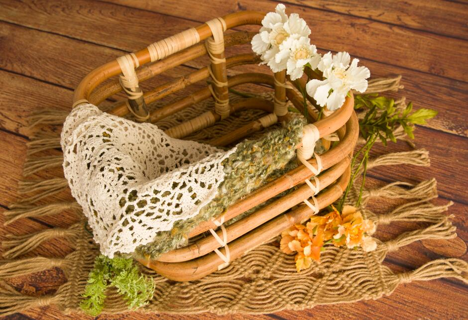 Baby Props Vintage Woven Rattan Basket Newborn 100 Days Photography Props Basket Baby Posing Sofa Bed Accessoire Shooting Props