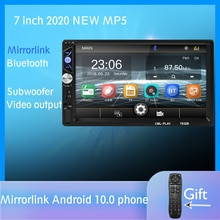 Mirror link Android 10.0 2 din autoradio 7 '  Lecteur multimédia, Bluetooth mains libres, FM/TF/USB, caméra arrière, autoradio